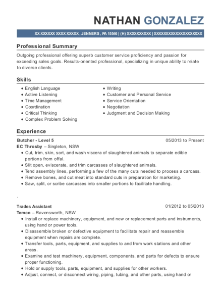 Butcher Level 5 resume example Pennsylvania