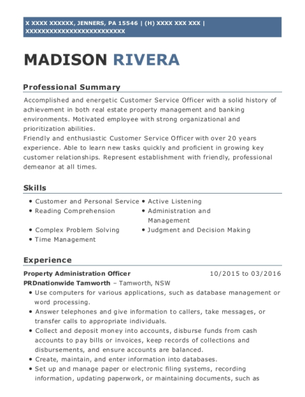 Property Administration Officer resume sample Pennsylvania