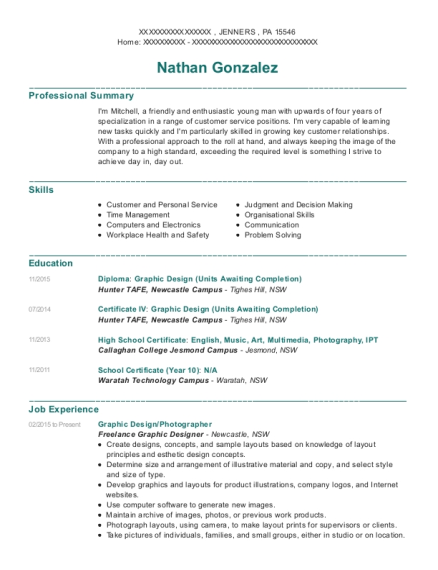 Graphic Design resume template Pennsylvania
