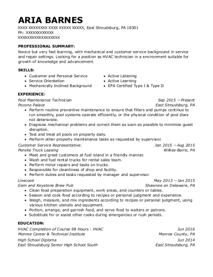 Pool Maintenance Technician resume sample Pennsylvania