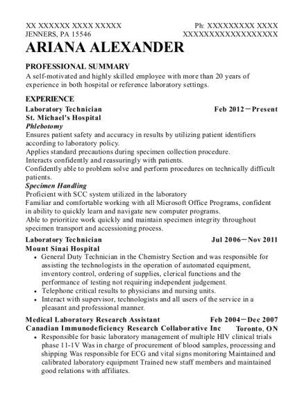 Laboratory Technician resume sample Pennsylvania