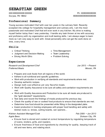 Research and Development Chef resume template Pennsylvania