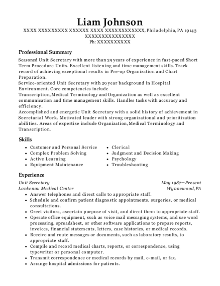 Unit Secretary resume example Pennsylvania