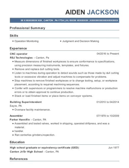 CNC operator resume example Pennsylvania