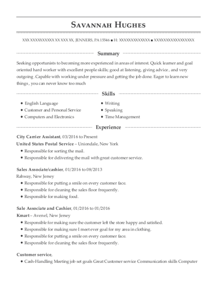 City Carrier Assistant resume template Pennsylvania