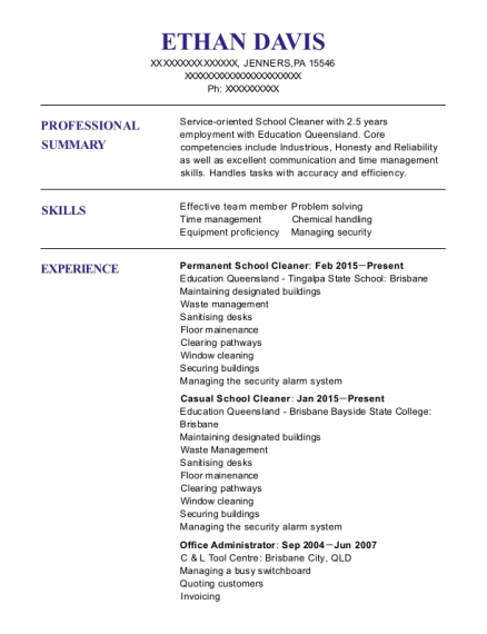Permanent School Cleaner resume example Pennsylvania