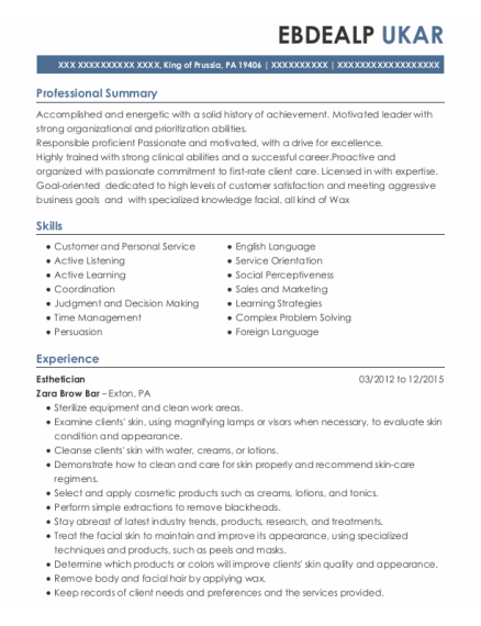 Esthetician resume sample Pennsylvania