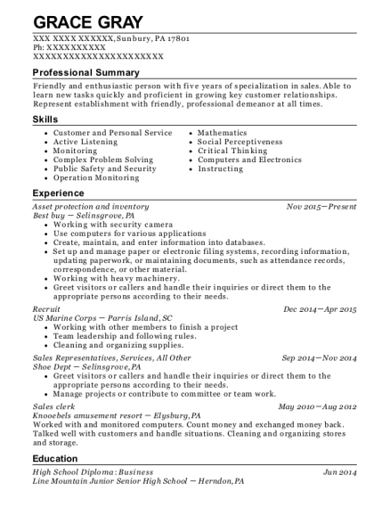 Asset protection and inventory resume template Pennsylvania