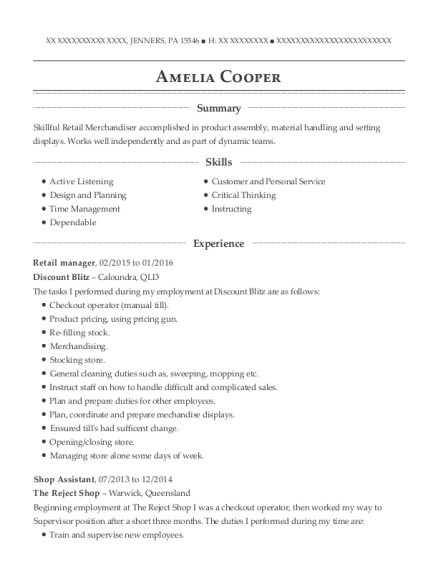 Retail manager resume format Pennsylvania