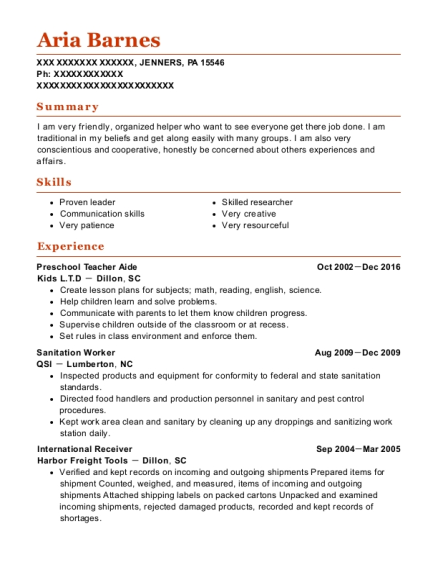 Preschool Teacher Aide resume format Pennsylvania