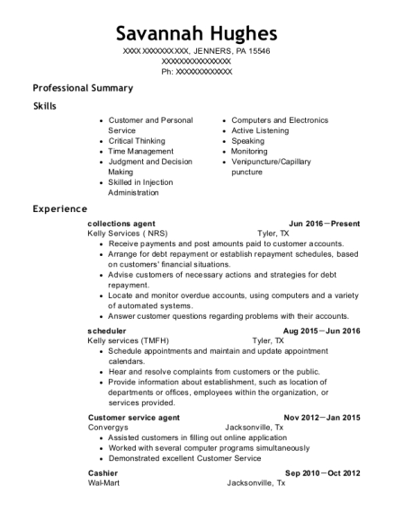 collections agent resume example Pennsylvania