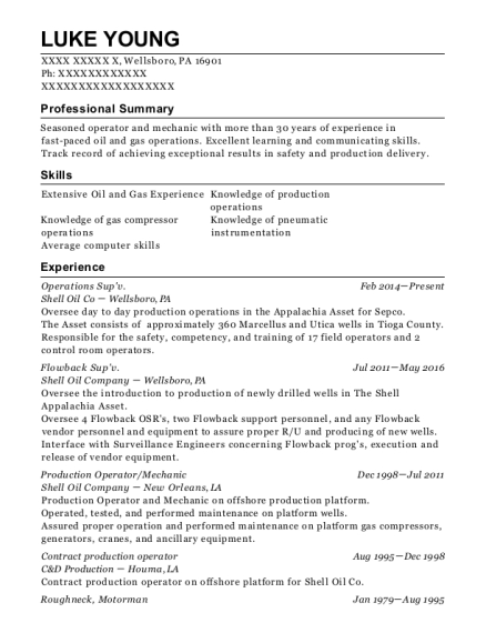 Operations Supv resume template Pennsylvania