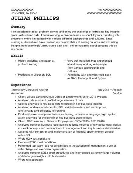 Technology Consulting Analyst resume example Pennsylvania