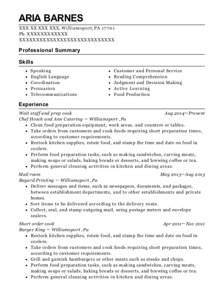 Wait staff and prep cook resume sample Pennsylvania