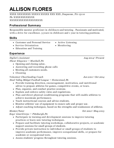 Stylists Assistant resume format Pennsylvania