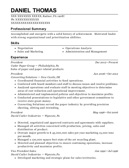 President resume sample Pennsylvania