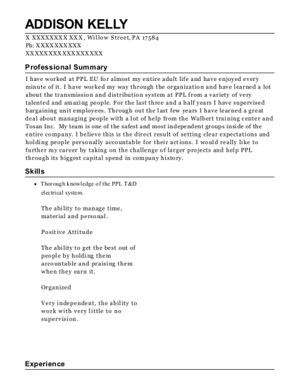 Foreman T&D resume sample Pennsylvania