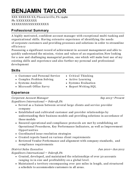 Corporate Account Manager resume sample Pennsylvania