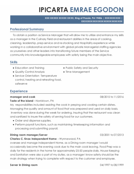 Dining Room Manager resume example Pennsylvania