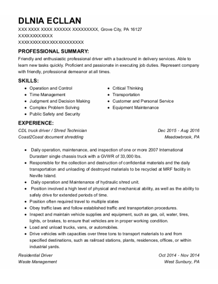 fedex ground package delivery driver resume sample