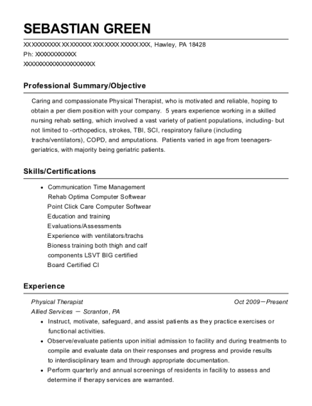 Physical Therapist resume template Pennsylvania