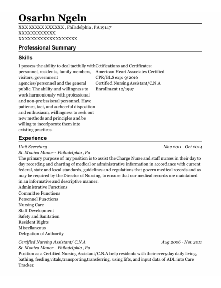Unit Secretary resume template Pennsylvania