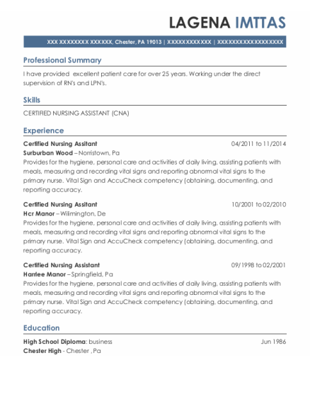 Certified Nursing Assitant resume sample Pennsylvania