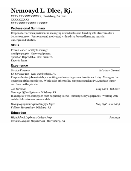 Job Foreman resume sample Pennsylvania