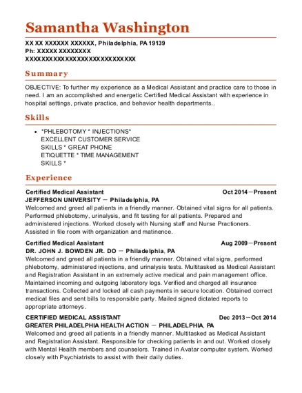 Certified Medical Assistant resume example Pennsylvania