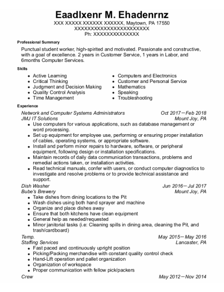 Network And Computer Systems Administrators resume template Pennsylvania