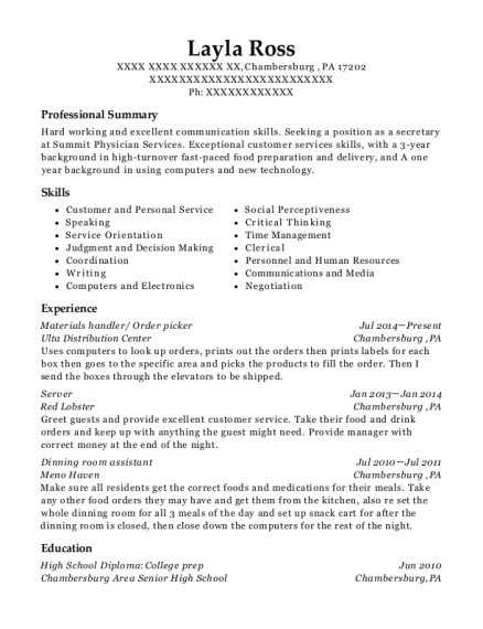 Materials handler resume sample Pennsylvania