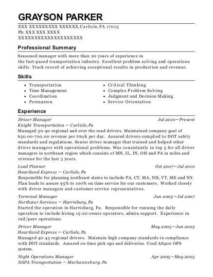 Driver Manager resume template Pennsylvania