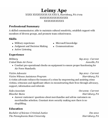 Military resume sample Pennsylvania