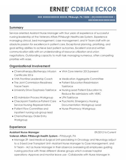Assistant Nurse Manager resume format Pennsylvania