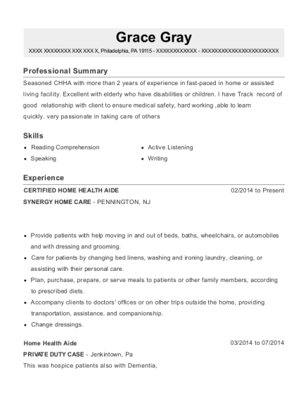 Best Certified Home Health Aide Resumes