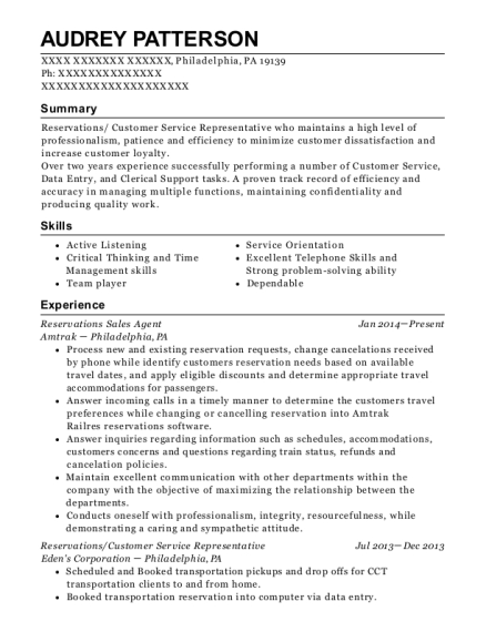 Reservations Sales Agent resume example Pennsylvania