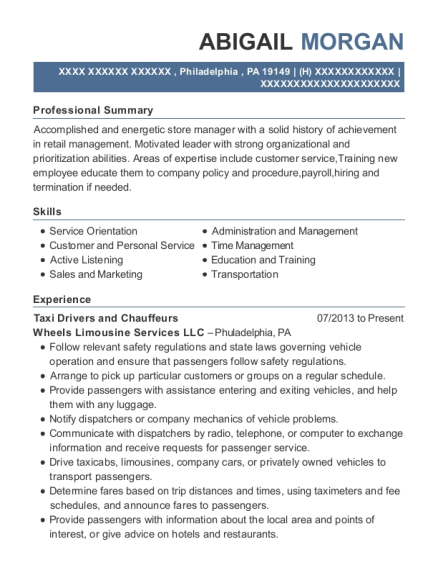 Taxi Drivers and Chauffeurs resume sample Pennsylvania