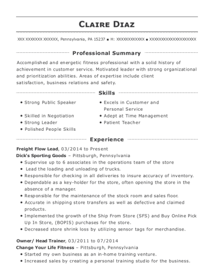 Freight Flow Lead resume template Pennsylvania
