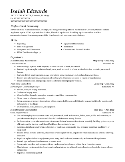Maintenance Technician resume sample Pennsylvania