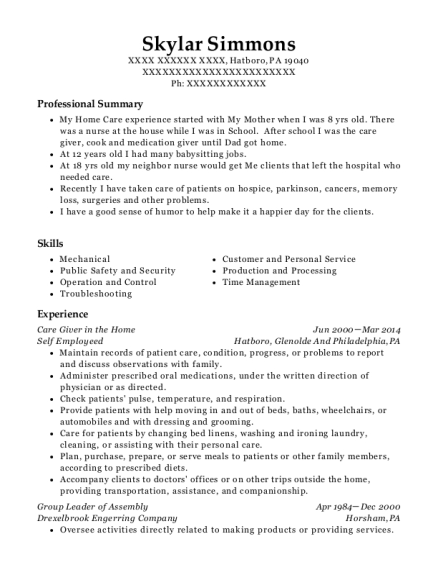 Care Giver in the Home resume example Pennsylvania