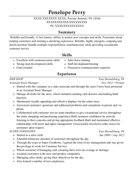 Assistant Store Manager resume format Pennsylvania