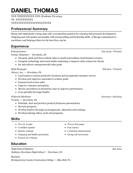 Entrepreneur resume example Pennsylvania
