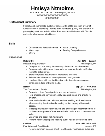 Data Entry resume template Pennsylvania