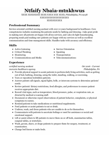 Certified Nursing Assitant resume example Pennsylvania