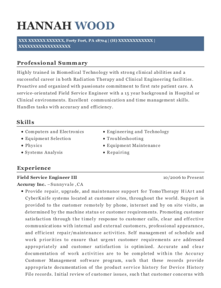 Field Service Engineer III resume template Pennsylvania