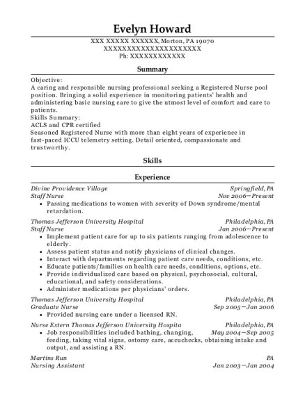 Staff Nurse resume format Pennsylvania