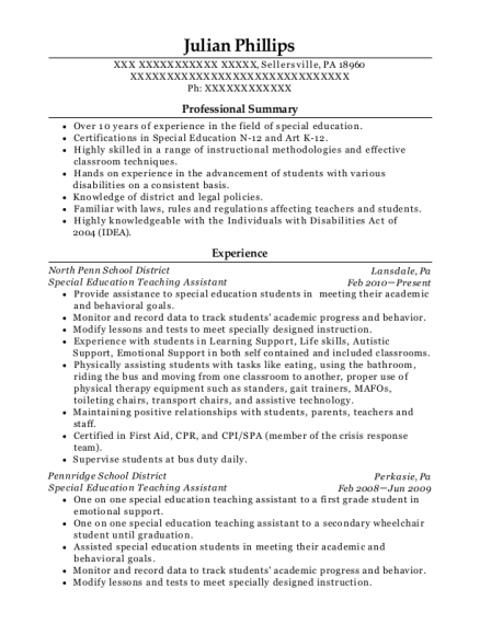 Special Education Teaching Assistant resume template Pennsylvania