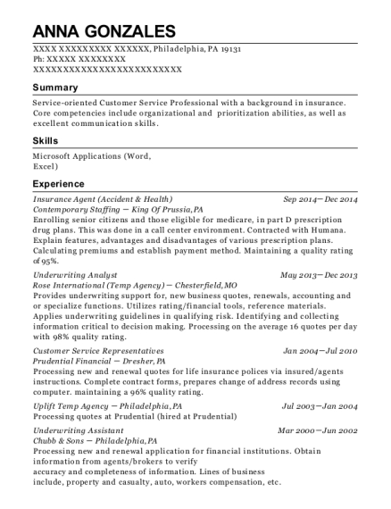 Insurance Agent resume format Pennsylvania