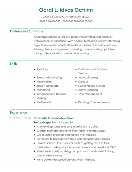 Apartment Manager resume template Pennsylvania