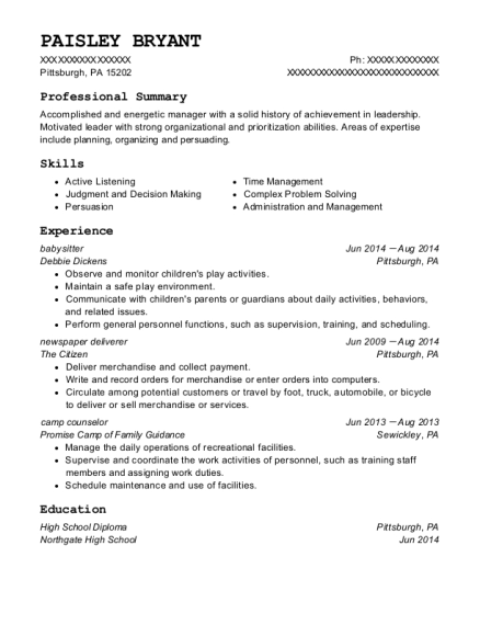 Babysitter resume example Pennsylvania